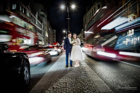 Bride and Groom on the high street London