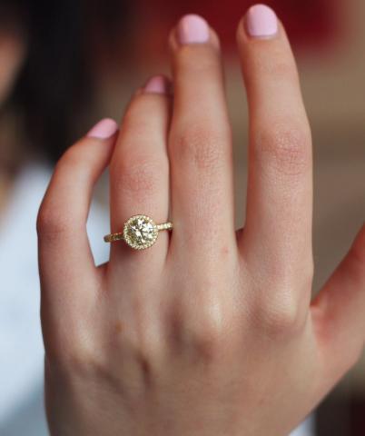 Yellow Diamond Halo Ring - image by drduncan