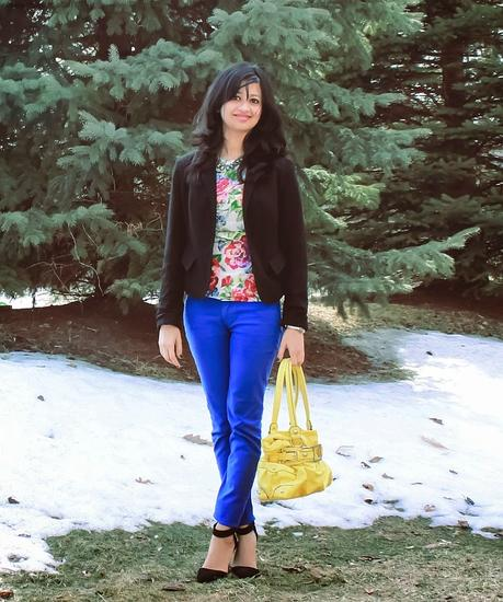 What I wore: Floral Top and Black Blazer