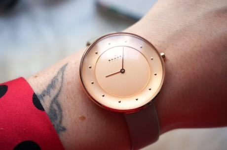 Skagen Klassik Rose Gold Grey Leather Strap Watch