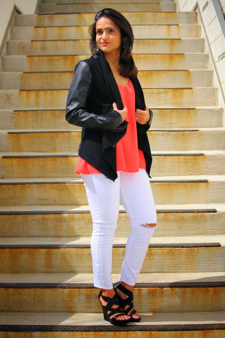 Jacket, Tank, Jeans, Shoes, Necklace - All South Moon Under, Tanvii.com