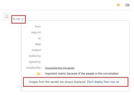 How to Disable Always Display Images From Gmail