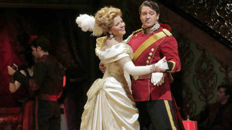 Hanna Glawari (Renee Fleming) waltzing  with Count Danilo (Nathan Gunn) in The Merry Widow