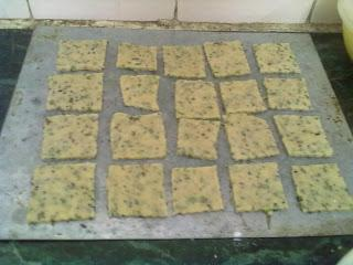 Rice and Curry leaves in my Crackers-Masala Crackers-Daring Bakers August 2013
