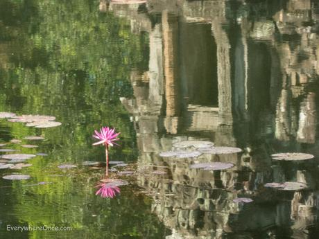 Neak Pean temple reflected in a pond at Angkor Wat