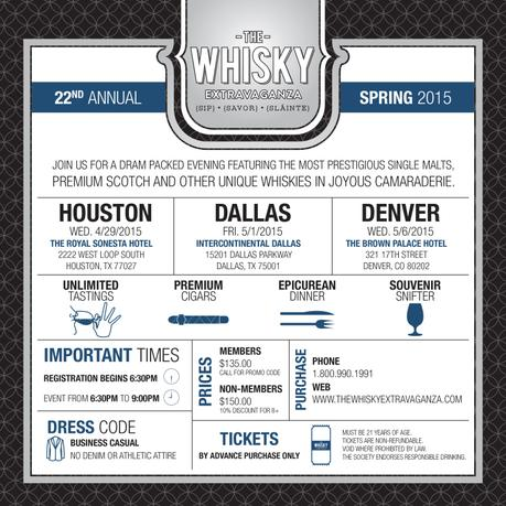 Whisky News Flash: Spring 2015 Whisky Extravaganza Schedule and a Promotional Code!