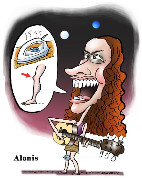 Caricature Canadian singer songwriter Alanis Morissette whose most famous song is Ironic playing guitar and singing rebus with clothes iron, knee, human leg