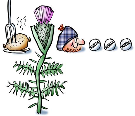 detail image of rebus pictures of plaid letter G, bagpipes, golf ball, golf club, haggis, thistle, Scotsman wearing tam, with ellipsis