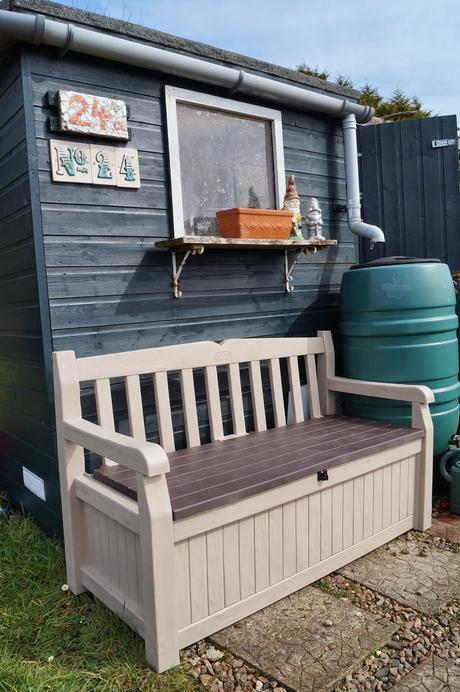 Keter Eden Storage Bench on the plot ~ growourown.blogspot.com