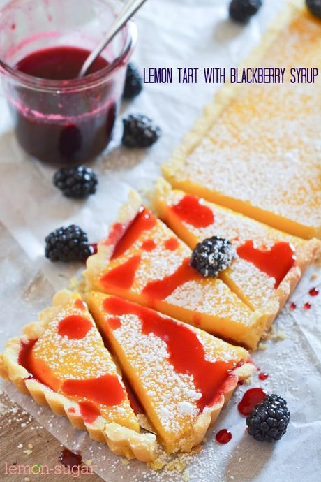 Lemon Tart with Blackberry Syrup