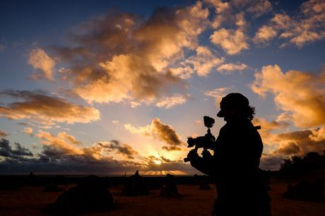 Charlene with her awesome video rig at Nambung National Park, Australia
