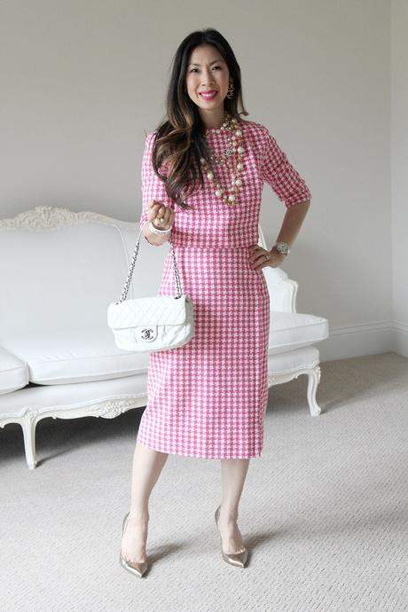 style of sam, from grandma with love, vintage pink gingham suit, how to wear chanel pearls