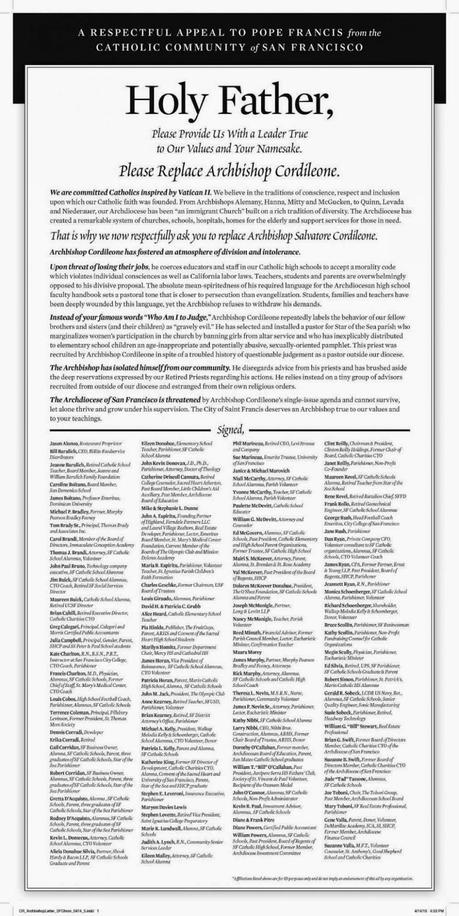 Here's the Ad from Today's San Francisco Chronicle, Asking Pope Francis to Remove Salvatore Cordileone as Archbishop of San Francisco