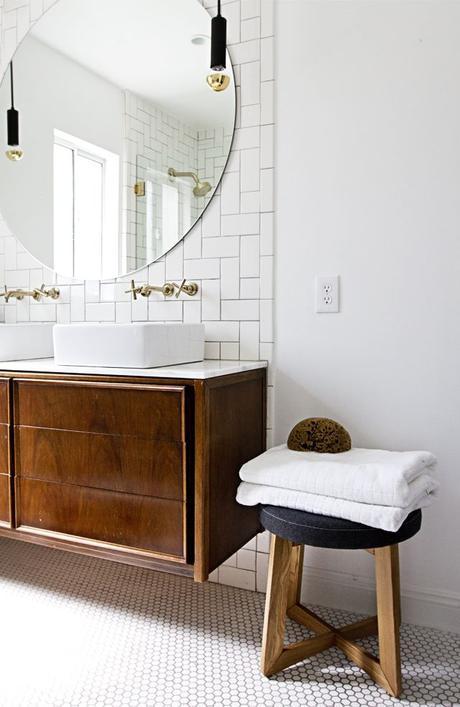 Warm, modern bath barefootstyling.com