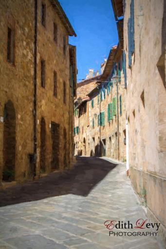 San Quirico D'Orcia, Tuscany, Italy, village, winding lane, buildings, digital painting, travel photography