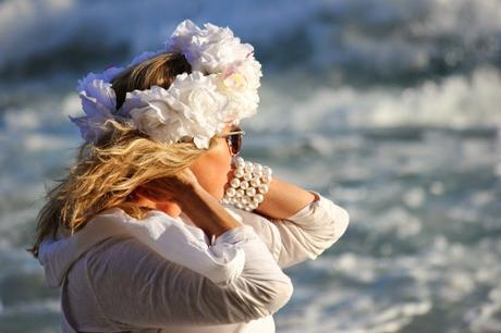 Stella Carakasi and Sunset at the Beach