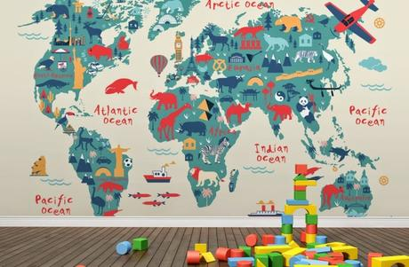 World map typography wallpaper btypography world map wallpaperb wall mural muralswallpaper gumiabroncs Gallery