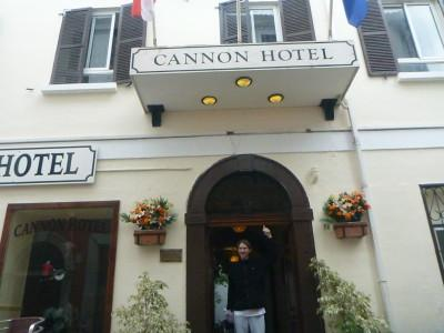 Outside the Cannon Hotel in Gibraltar