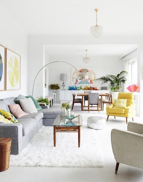 Simple - balanced - harmonious - color - white - area rug - arc lamp - pendant light