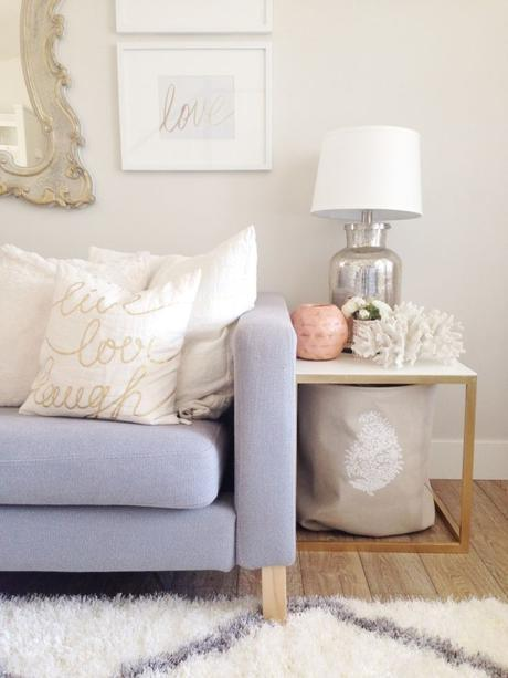 ohmydearblog ikea hack side tables gold white and coral  living room decor