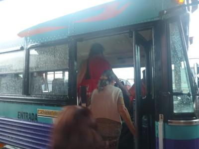 Boarding a bus in Alajuela, Costa Rica