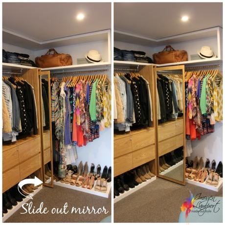 slide out mirror in walk in wardrobe