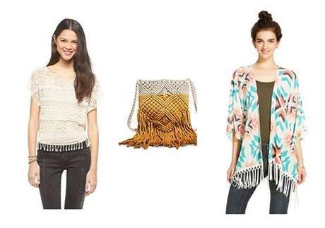 Mossimo Supply Women Dip Dye Macrame Crossbody Handbag with Xhiliration Boxy Printed Kimon