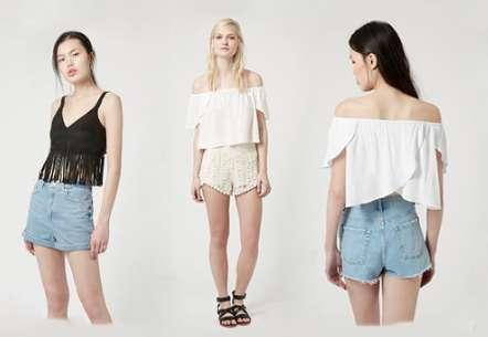 Wrap Back Bardot Top with Scallop Crochet Shorts