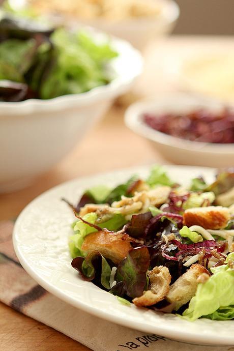 Mixed Greens Salad with Smoked Mozzarella and a Warm Roasted Garlic ...