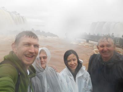 Getting soaked at the marvelous Iguazu Falls.