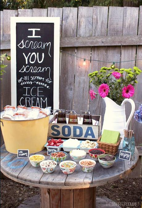 Ice cream in personalized containers with lots of toppings! Fun summer party idea! #partyideas