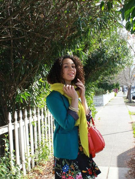 Bouquet of Colors: Orange Bag and Jade Jacket