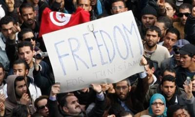 Tunisians celebrate Ben Ali's departure.