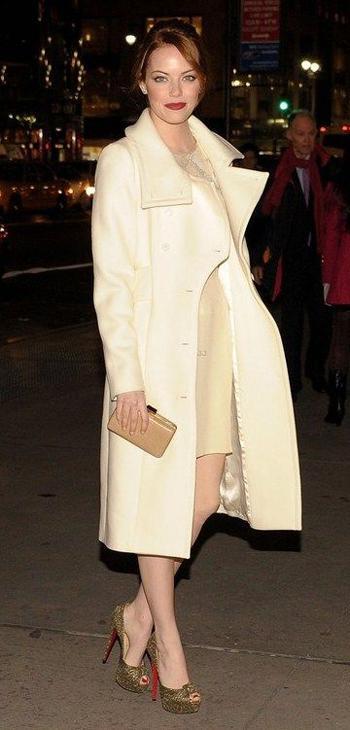 Emma S cream coatFab Find Friday: Emma Stones Best Fashion Moments