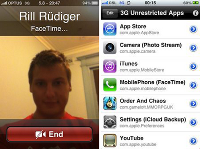 Factime Over 3G With 3G Unrestrictor On iOS 5.x
