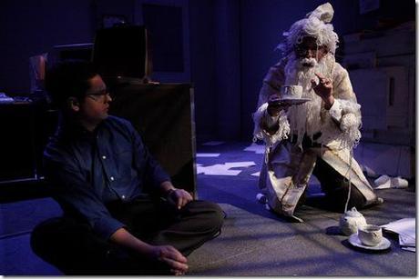 and Derek Van Barham as The Man in Floss in The Ruckus Theater's