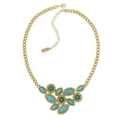 Aqua Cluster plate necklace