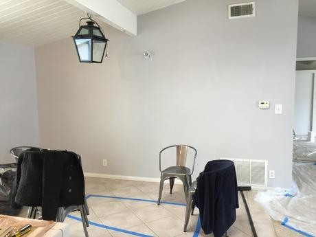 Behr-Gentle-Rain-Paint-Color-Dining-Room-Ceiling-Beams-Pottery-Barn-Lantern-Black-Target-Carlisle-Metal-Chairs-Title
