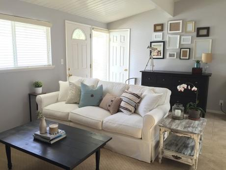 Macys-Leanne-Fabric-Slipcover-Sofa-Couch-White-Living-Room-Gallery-Wall-Black-Coffee-Table-Beach-House