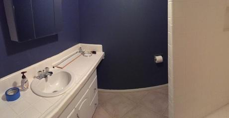 Blue-Navy-Dark-Bathroom-Behr-English-Channel-Paint-Color-Small-Bath-Decorating-Makeover