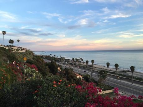 Beach-View-Beautiful-Ocean-Capistrano-Beach-Palm-Trees-Shoreline-Clouds-Sunset-California-Southern