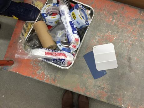 Home-Depot-Paint-Swatches-Colors-Behr-English-Channel-Gentle-Rain-Plastic-Drop-Cloths-Painters-Tape-Blue-Grey-Gray-Paint-DIY