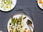 Asparagus Salad with Feta, Dates, Hazelnuts Kumquats