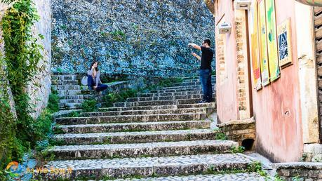 Corfu staircase leads up to a hill overlooking the city
