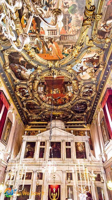 Ornate ceiling and iconostasis at Saint Spyridon Church, Kerkyra, Corfu, Greece