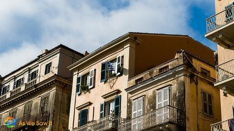 Flag flies from Corfu window in honor of Ohi Day
