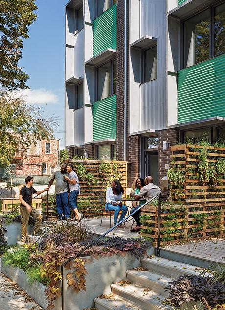 Modern affordable multifamily passive houses like the Belfield Avenue Townhomes in Philadelphia by Onion Flats facade