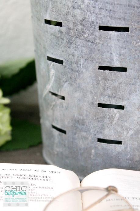 patina on galvanized bucket
