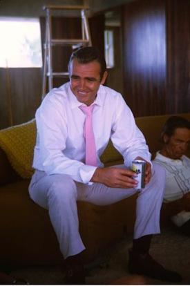 Connery enjoys a refreshing Gatorade between takes.