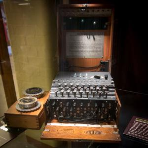 An Enigma machine on display at Bletchley Park